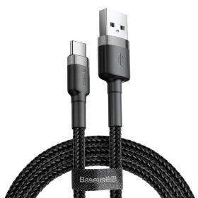 كابل Baseus cafule Cable USB For Type-C 3A ١ متر -رمادي+ أسود
