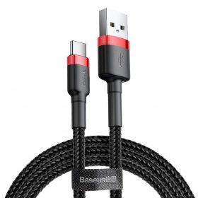كابل Baseus cafule Cable USB For Type-C 2A 3 متر -احمر+ أسود