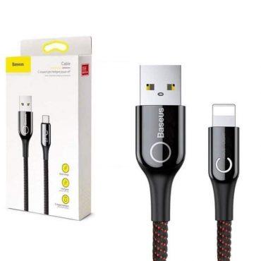 كابل Baseus C-shaped Light Intelligent power-off Cable 1 متر -أسود