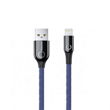 كابل Baseus C-shaped Light Intelligent power-off Cable 1 متر -أزرق