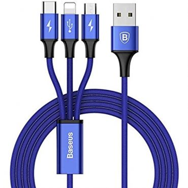 كابل Baseus Rapid Series 3-in-1 Cable Micro+Lightning+Type-C 3A 1.2 متر – أزرق داكن