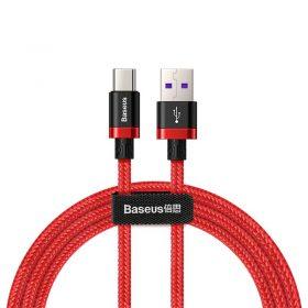 كابل Baseus Purple Gold Red HW flash charge cable USB For Type-C 40W 1 متر – أحمر