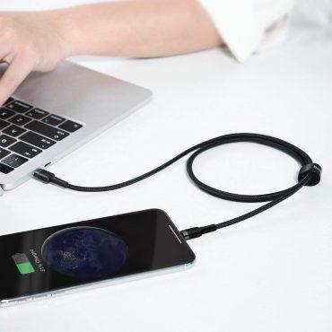 كابل Baseus Cafule Cable Type-C to iP PD 18W 1m أسود ورمادي