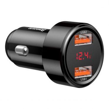 شاحن السيارة Baseus Magic Series Dual QC digital display for intelligent quick charging and car charging of 45W أسود