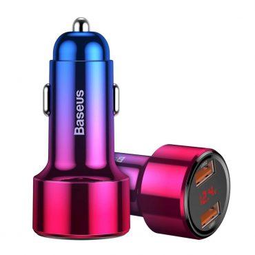 شاحن السيارة Baseus Magic Series Dual QC digital display for intelligent quick charging and car charging of 45W أحمر