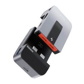 محول Baseus Armor Age Type-C Bracket Multifunctional HUB Adapter رمادي