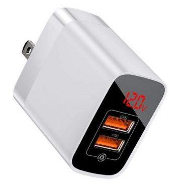 شاحن الحائط Baseus Mirror Lake Dual QC Digital Display quick Charger A+A UK ابيض