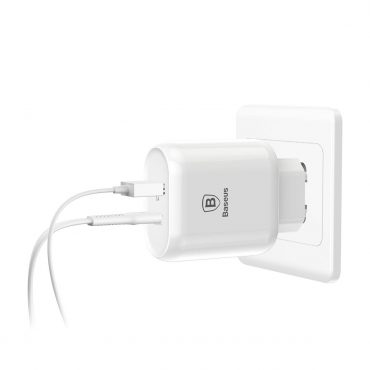 شاحن BASEUS BOJure Series quick charge charger 32W /USB PORT ANF TYPEC PD QUICK(EU)الأبيض