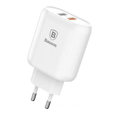 شاحن Baseus Bojure Series Dual-USB quick charge charger for 23W (EU) الأبيض