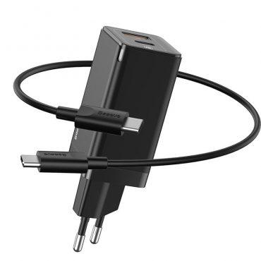 شاحن جان 45 واط Baseus GaN Mini Quick Charger C+U 45W EU(With Mini Cable Type-C to Type-C 60W(20V/3A)1m)- أسود
