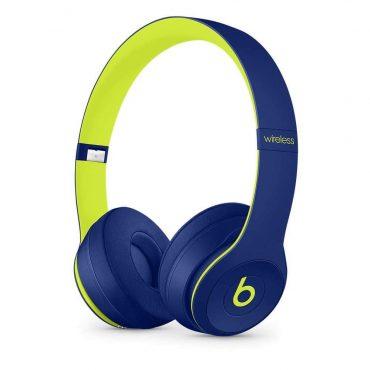 سماعات رأس لاسلكية Over-ear نوع Solo 3 منBeats  (مجموعات Pop) - أزرق مع فسفوري