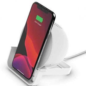 شاحن لاسلكي مع سبيكر Belkin Wireless Charging Stand with Bluetooth Speaker 10W - White