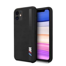 كفر BMW - Tone-on-Tone Stripe Silicone Hard Case for iPhone 11 - أسود
