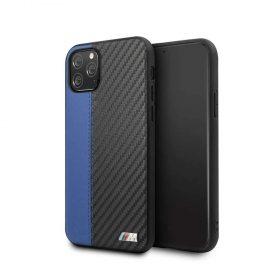 كفر BMW - PU Leather Carbon Strip Hard Case For iPhone 11 Pro - أزرق