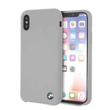كفر BMW - Real Microfiber Silicone Case for iPhone X - رمادي