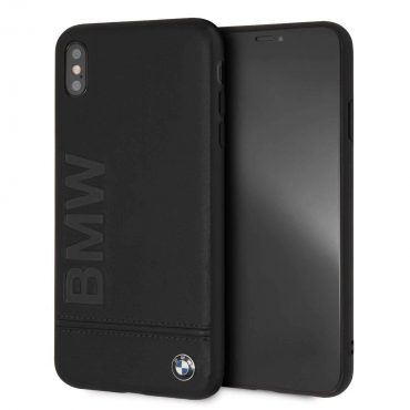 BMW Genuine Leather Hard Case with Imprint Logo for iPhone Xs Max - Black