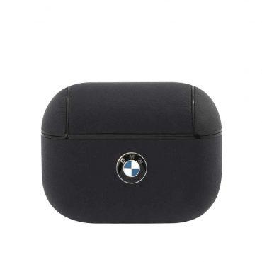 كفر BMW - Signature Collection PC Leather Case with Metal Logo for Airpods Pro  - كحلي
