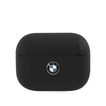 كفر BMW - Signature Collection PC Leather Case with Metal Logo for Airpods Pro  - أسود