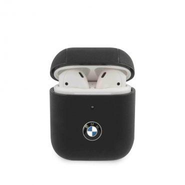 كفر BMW - Signature Collection PC Leather Case with Metal Logo for Airpods 1 / 2  - أسود