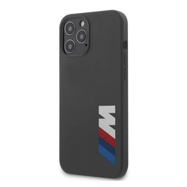 كفر BMW - M Collection Liquid Silicone Case Printed Big Logo for iPhone 12 Pro Max - رمادي