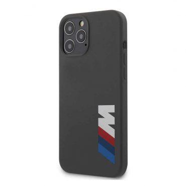 كفر BMW - M Collection Liquid Silicone Case Printed Big Logo for iPhone 12 Pro - رمادي