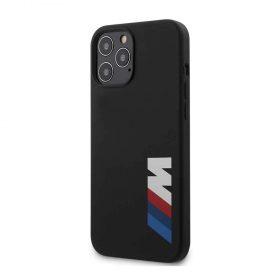 كفر BMW - M Collection Liquid Silicone Case Printed Big Logo for iPhone 12 Pro Max - أسود