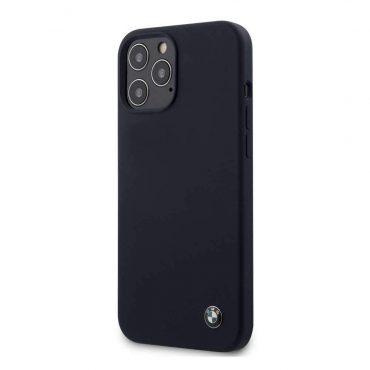 كفر BMW - Liquid Silicone Hard Case Metal Logo for iPhone 12 Pro Max - كحلي