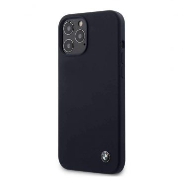 كفر BMW - Liquid Silicone Hard Case Metal Logo for iPhone 12 Pro - كحلي
