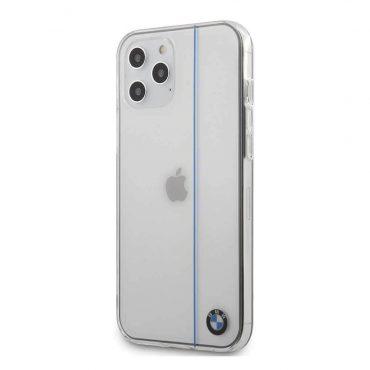 كفر BMW - PC/TPU Shiny Hard Case Blue Vertical Line for iPhone 12 Pro Max - شفاف