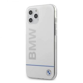 كفر BMW - PC/TPU Shiny Hard Case Blue Horizontal Line and Printed Logo for iPhone 12 Pro Max - أبيض