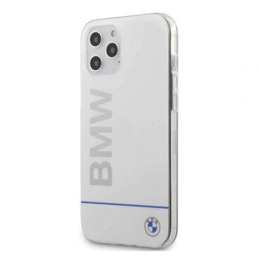 كفر BMW - PC/TPU Shiny Hard Case Blue Horizontal Line and Printed Logo for iPhone 12 Pro - أبيض