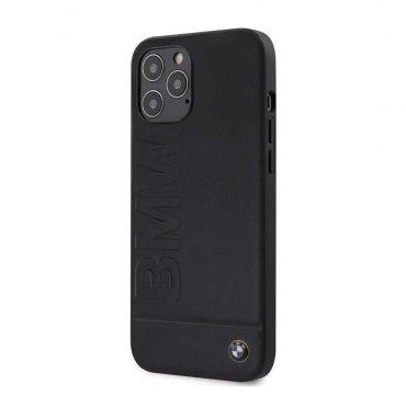كفر BMW - Real Leather Hard Case Hot Stamp and Metal Logo for iPhone 12 Pro - كحلي