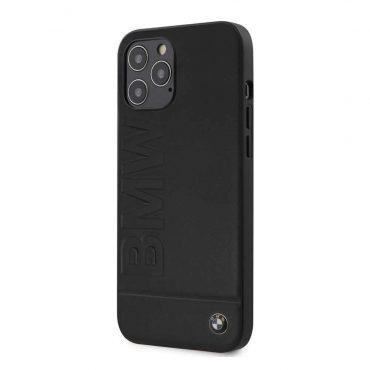 كفر BMW - Real Leather Hard Case Hot Stamp and Metal Logo for iPhone 12 Pro - أسود