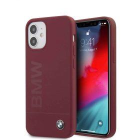 "كفر أحمر BMW Liquid Silicone Case Tone to Tone for iPhone 12 Mini (5.4"") - Red"