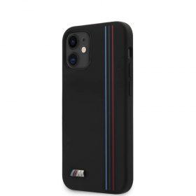 """كفر BMW M Collection Liquid Silicone Hard Case Tricolor Vertical Lines Metal Logo for iPhone 12 Mini (5.4"""") - Black"""