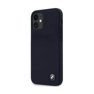 "كفر  BMW Liquid Silicone Hard Case Metal Logo for iPhone 12 Mini (5.4"") - Navy"