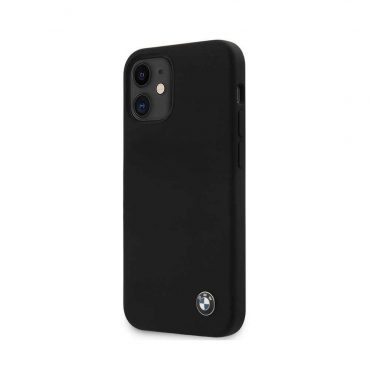 "كفر BMW Liquid Silicone Hard Case Metal Logo for iPhone 12 Mini (5.4"") - Black"