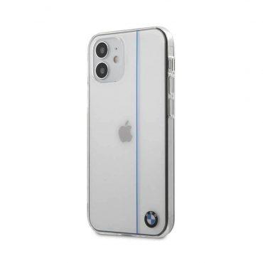 """كفر BMW PC/TPU Shiny Hard Case Blue Vertical Line for iPhone 12 Mini (5.4"""") - Transparent"""