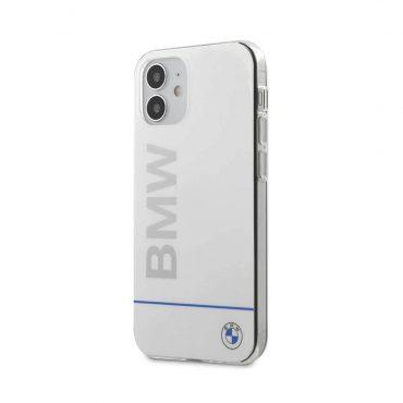 "كفر BMW PC/TPU Shiny Hard Case Blue Horizontal Line and Printed Logo for iPhone 12 Mini (5.4"") - White"