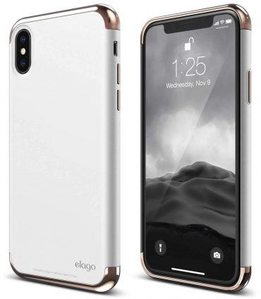كفر iPhone X Elago - ذهبي/ أبيض