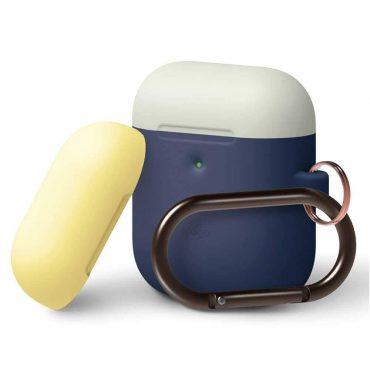 غطاء مع علاقة لسماعات Airpods الجيل الثاني من Elago - أزرق غامق/ أبيض تقليدي، أصفر