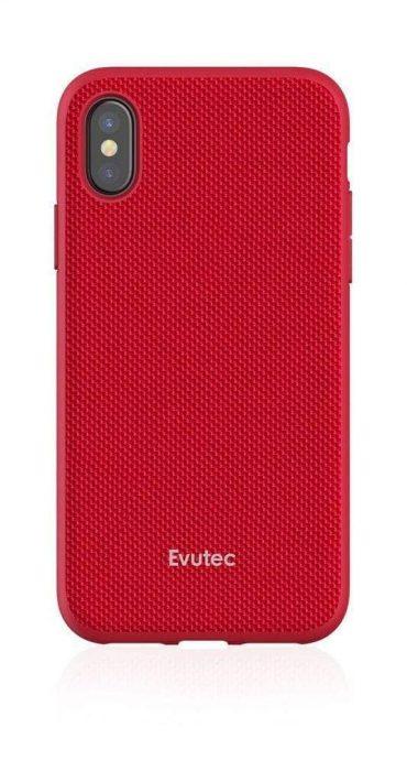 كفر موبايل EVUTEC AERGO BALLISTIC NYLON WITH AFIX IPHONE XS Max  - أحمر