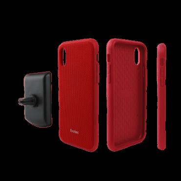كفر موبايل EVUTEC AERGO BALLISTIC NYLON WITH AFIX IPHONE XR - أحمر