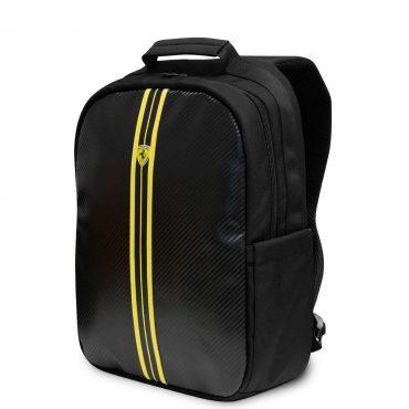 "حقيبة اللابتوب Ferrari On Track Nylon & PU Carbon Computer Backpack 15"" with Yellow Stripes - Black"