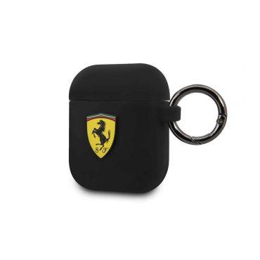 كفر سيليكون Scuderia مع حلقة معدنية ل Airpods ½ من Ferrari - أسود