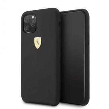 كفر سيليكون مع الشعار الأصلي لآيفون 11 Pro  من فيراري - أسود
