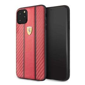 كفر كربون PU لجهاز آيفون 11 Pro Max  من فيراري– أحمر