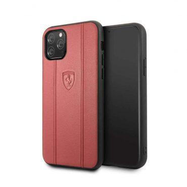 كفر جلدي أنيق لآيفون 11 Pro من فيراري - أحمر