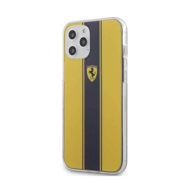 كفر Ferrari - On Track PC/TPU Hard Case with Navy Stripes for iPhone 12 Pro Max - أصفر
