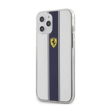 كفر Ferrari - On Track PC/TPU Hard Case with Navy Stripes for iPhone 12 Pro Max - أبيض